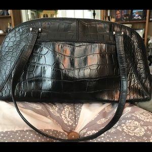 Monsac Croc Embossed Leather Bag